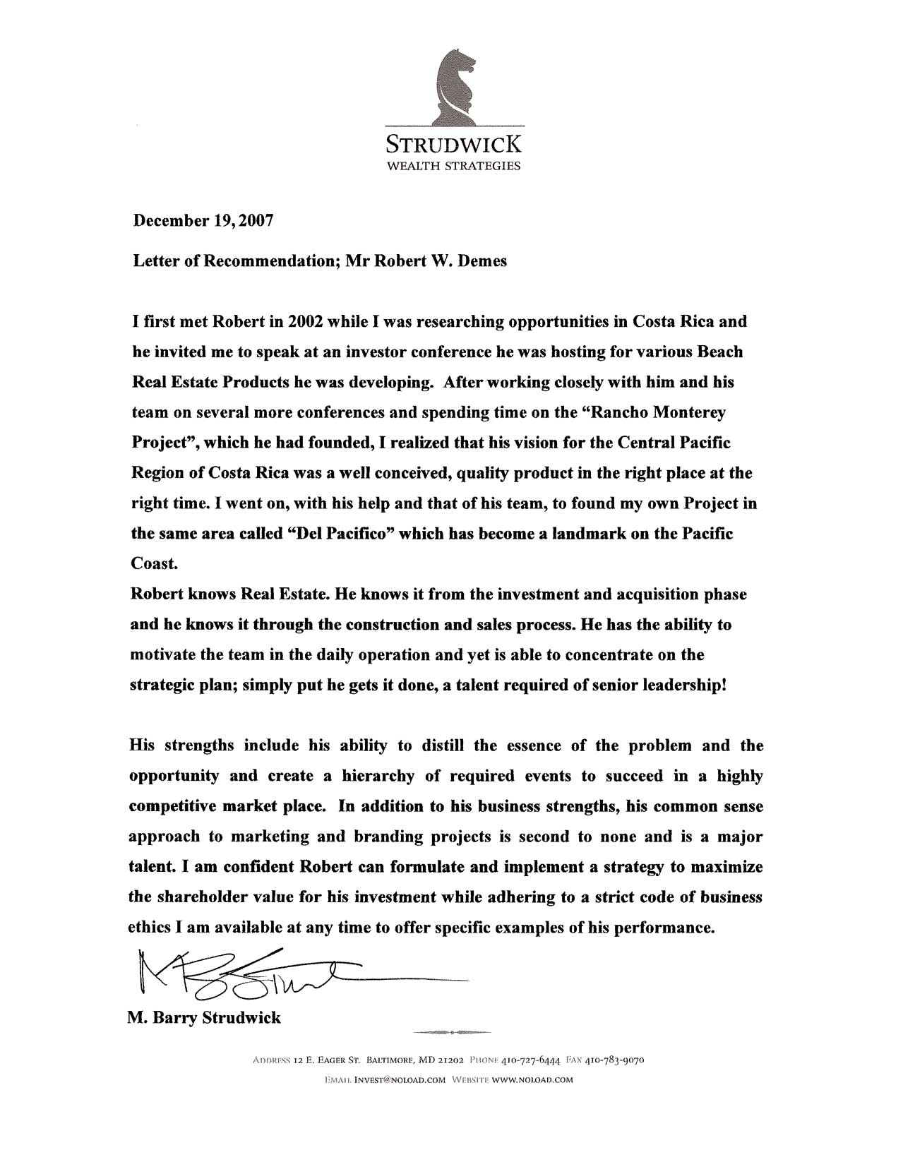 robert demes letter of reference from strudwick wealth strategies click here to see image of actual letter